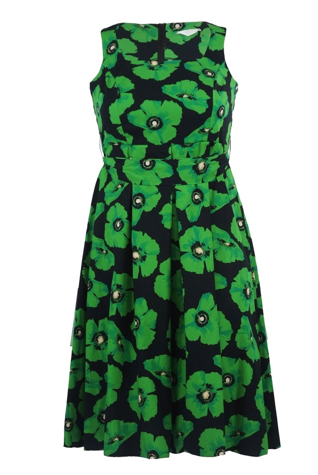 Green & Black Poppy Print Tie Belt Dress from Yours Clothing
