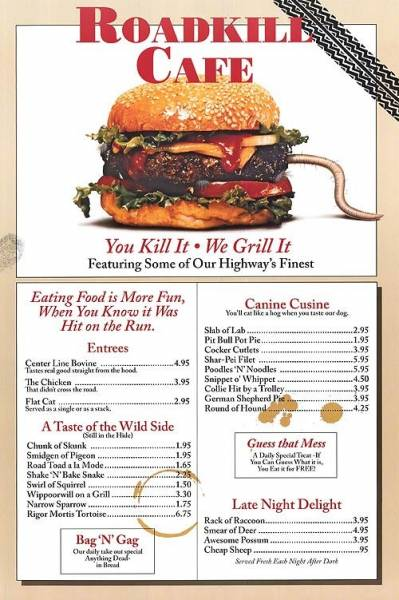 roadkill cafe menu