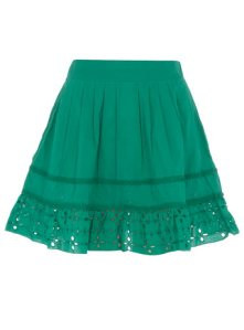 Green cut out detail skirt