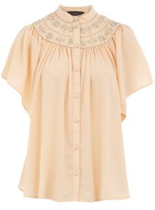 Peach embroidered yoke blouse