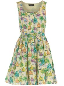 Yellow flowerpot print dress
