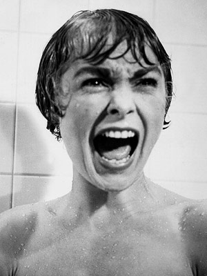 "Screenshot from the movie ""Psycho"" of the screaming woman."