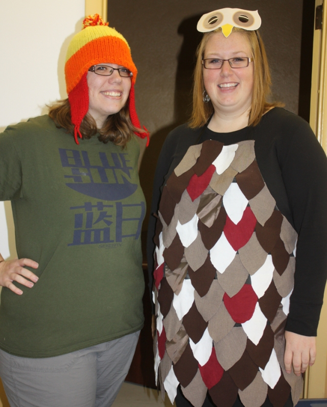 Peggy and Tanya, dressed up for Hallowe'en as Jayne from Firefly and an owl