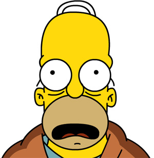 Homer Simpson looking scared