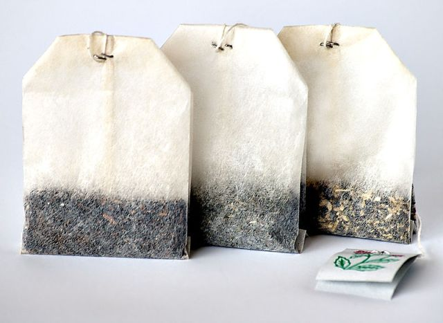 Three tea bags all lined up in a row